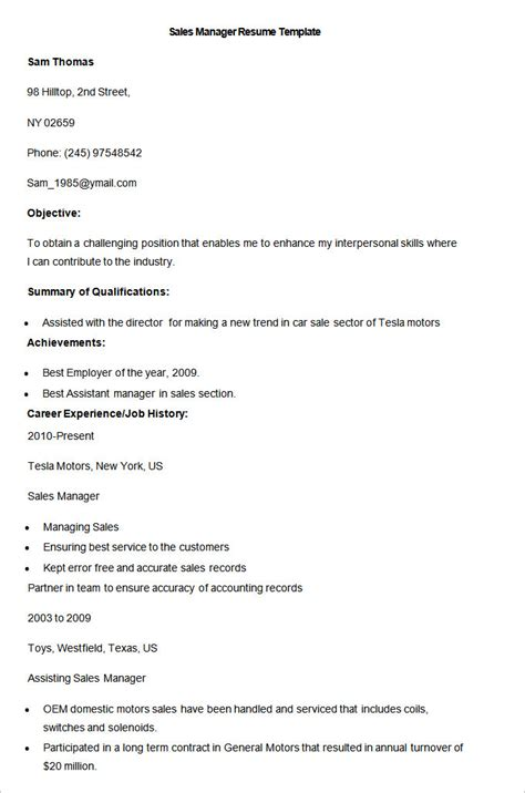 Sales Resume Template 41 Free Sles Exles Format Download Free Premium Templates Free Sales Manager Resume Templates