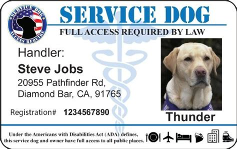 printable service dog id cards service award certificate templates free like success