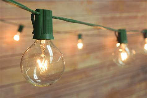 Clear Globe String Lights Outdoor 50 Socket Outdoor Patio String Light Set G40 Globe Bulbs 51 Ft Green Cord Ebay