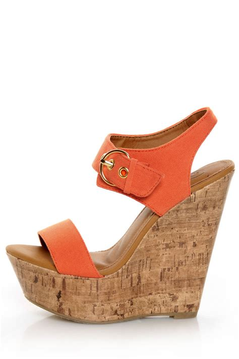 my delicious walro burnt orange cotton platform wedge