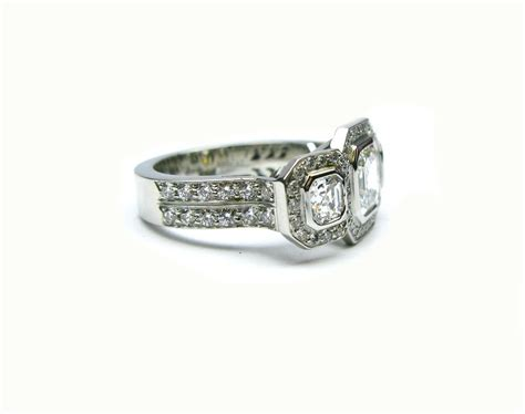 Handmade Platinum Rings - handmade platinum 1 10ct asscher three