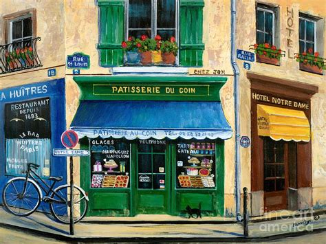 Parisian Duvet Cover French Pastry Shop Painting By Marilyn Dunlap
