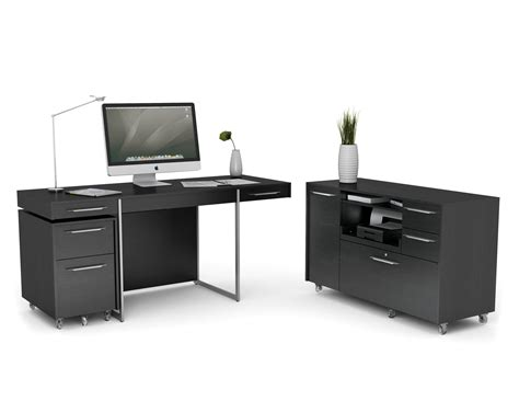 Black Wooden Computer Desk Modern Black Laminated Particle Wood Computer Desk With Drawers Using Minimalist Table Light