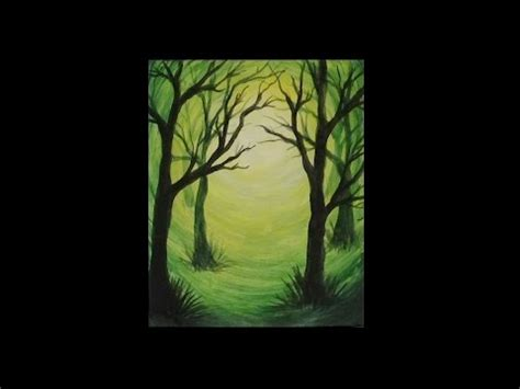 acrylic painting forest tutorial how to paint a weeping willow tree step by step