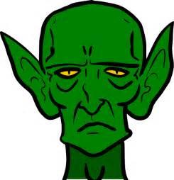 goblin monster sad green frown evil ears