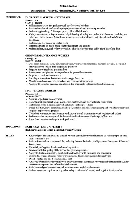 Maintenance Worker Resume by Maintenance Worker Resume Sles Velvet
