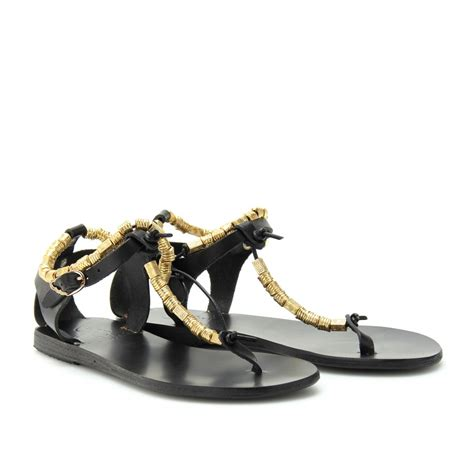 ancient sandals ancient sandals chrysso leather sandals in black lyst