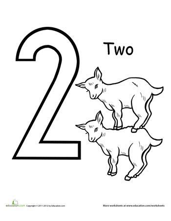 goat coloring pages kindergarten count and color two goats worksheets count and number