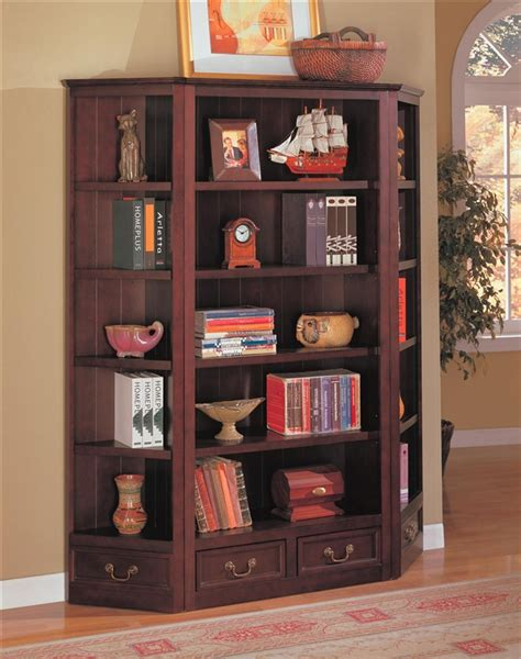 Coaster Corner Bookcase Louis Philippe Styled Corner Bookcase In Rich Cherry Finish By Coaster 800376