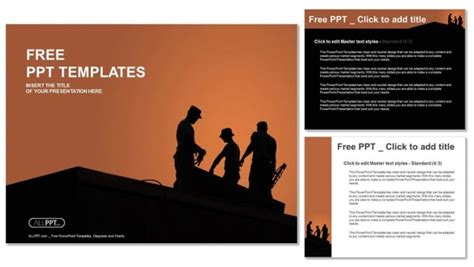 free construction powerpoint templates silhouette of construction worker powerpoint templates