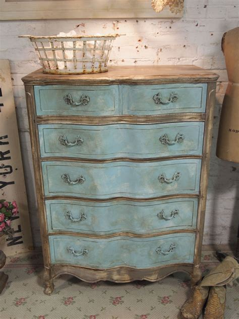 painted cottage chic shabby aqua dresser ch31