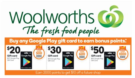 Everyday Rewards Gift Cards - woolies rewards member can get bonus points for simply purchasing a google play gift
