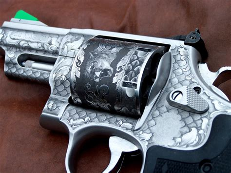 "Smith & Wesson Engraved Model 629 .44 magnum Trailboss stainless steel finish 3 1/2"" barrel"