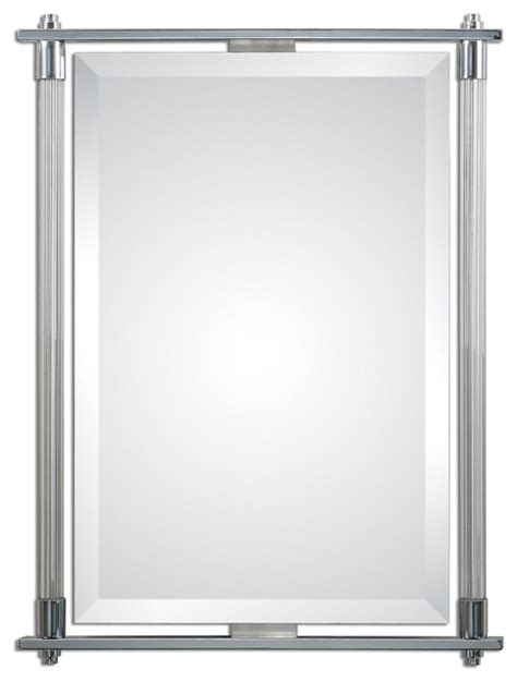 Polished Chrome Bathroom Mirrors Uttermost 1127 Adara Polished Chrome Vanity Mirror Modern Bathroom Mirrors By Alcove Lighting