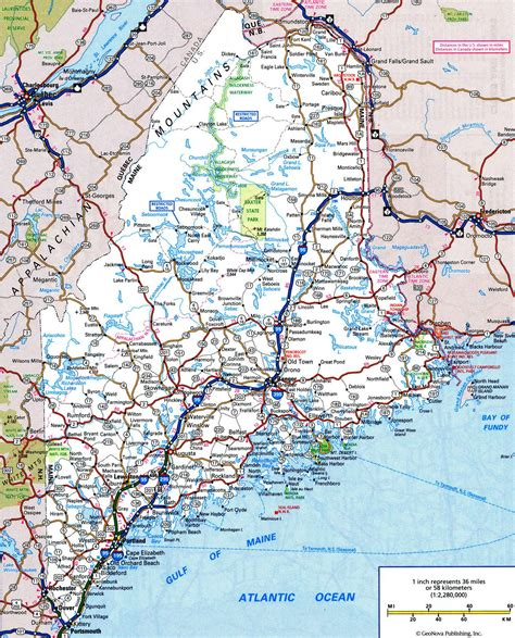 maine on map road map of mainefree maps of us