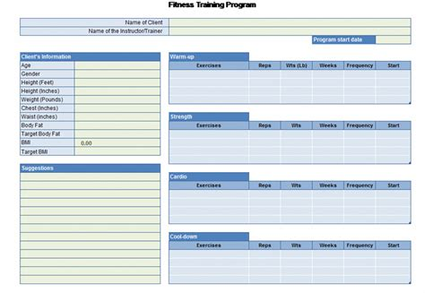 workout plan template exercise planner office templates