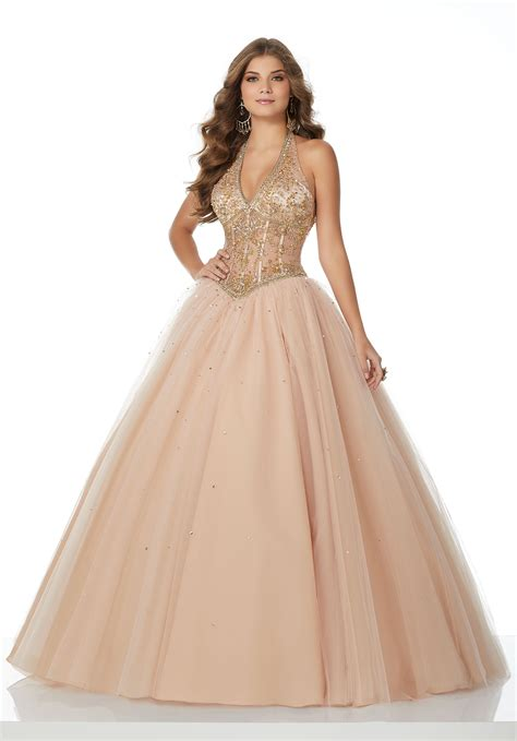beaded halter prom dress beaded tulle prom dress with halter neckline and basque
