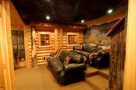 Log Cabin With Basement by Log Home Theater Traditional Basement Detroit By