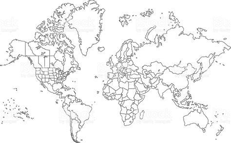 World Map Hd Outline by Contorno Mappa Mondo Immagini Vettoriali Stock E Altre Immagini Di Accuratezza 165038575