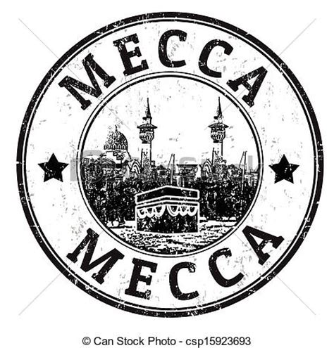 mecca stamp. black grunge rubber stamp with the name of