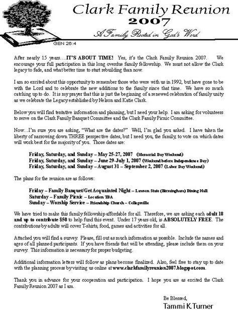 family reunion invitation letter futureclim info