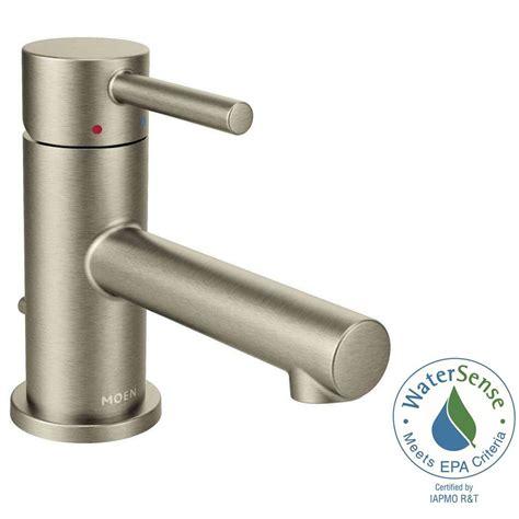 moen single hole bathroom faucet moen align single hole 1 handle bathroom faucet in brushed nickel 6191bn the home depot