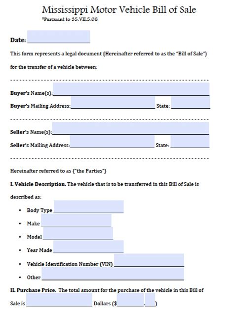 Ms Auto by Free Mississippi Motor Vehicle Bill Of Sale Form Pdf