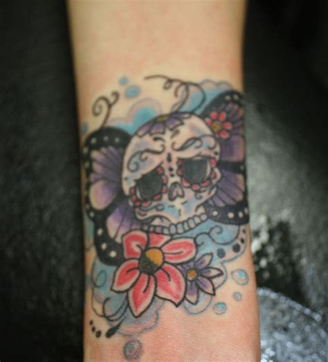 skull tattoo wrist wrist skull flower tattoos