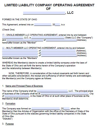 free operating agreement template for parnership llc no card needed free ohio llc operating agreement template pdf word