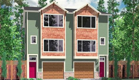 narrow row house duplex house plans narrow lot duplex design easily converts to row house plan www houseplans