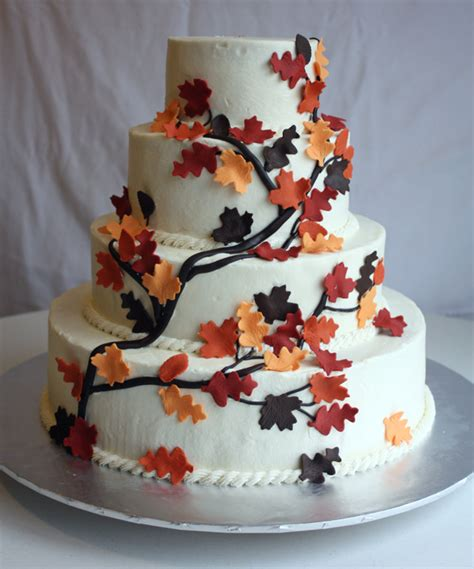 fall leaves cake decorations branches and leaves cake for a fall wedding