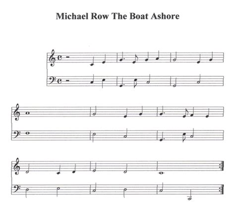 michael row the boat ashore piano section 7 michael row the boat ashore