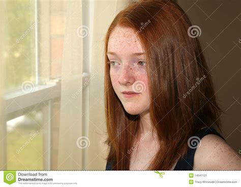 preteen red head depressed redhead preteen girl stock image image 14547121
