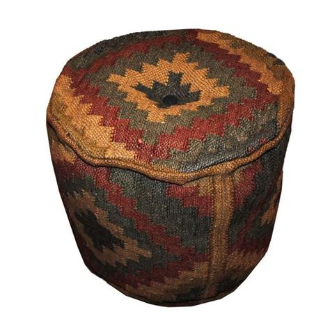 Handmade Ottomans - handmade kilim upholstered puff ottoman india