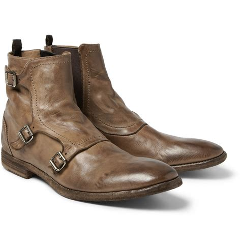 monk boots mcqueen leather monkstrap boots in brown for