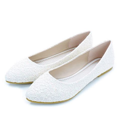 White Wedding Flats by White Wedding Flats Lace Comfortable Shoes For Bridesmaid
