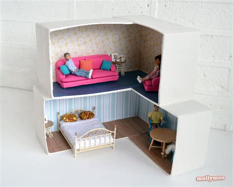 dolls house diy mollymoocrafts cardboard crafting diy dollhouse