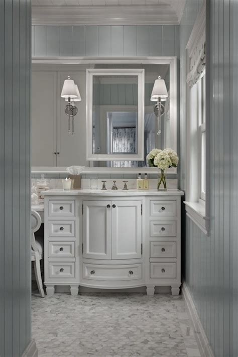 gray beadboard traditional bathroom cottage company
