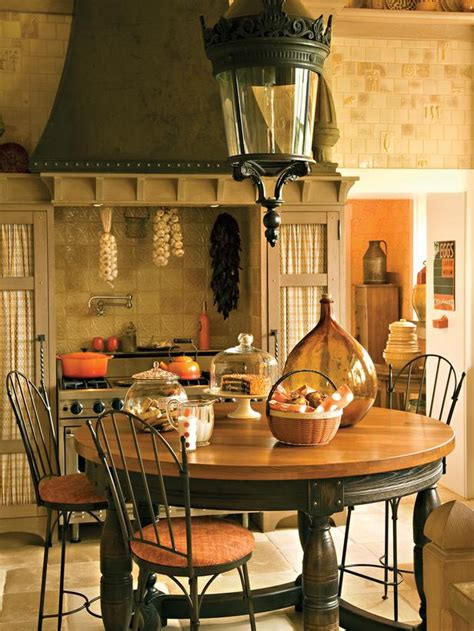 country kitchen table with antique l and warm orange