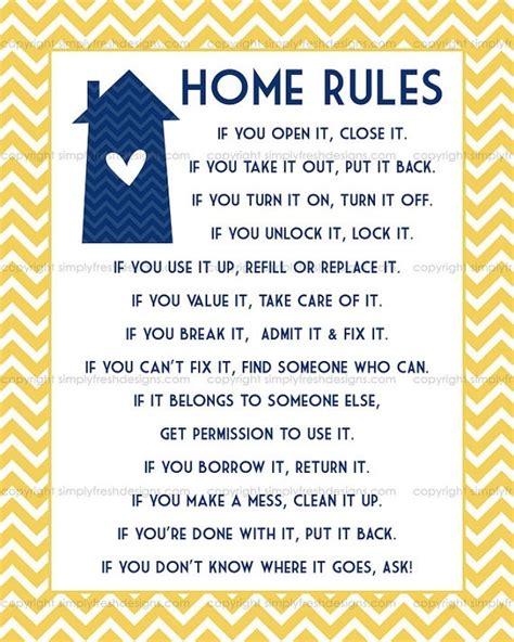 house rules exles of house rules bing images