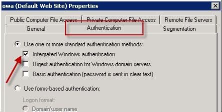 exchange server 2010 outlook web app authentication settings
