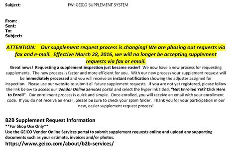 a supplement to escrow is update geico says fax email supplements still ok 60