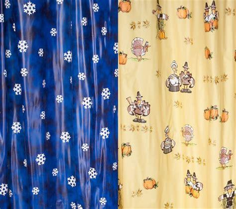 seasonal shower curtains hookless set of 2 vinyl holiday design shower curtains