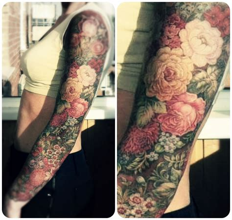 flower arm tattoo floral sleeve