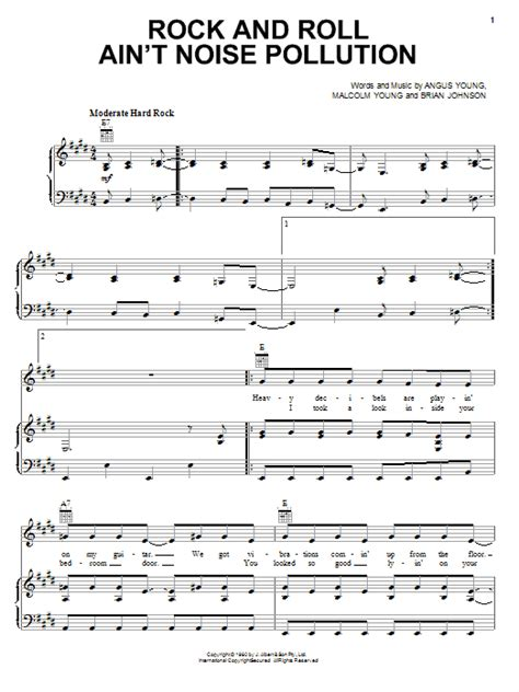 you ain t going nowhere strumming pattern rock and roll ain t noise pollution sheet music by ac dc