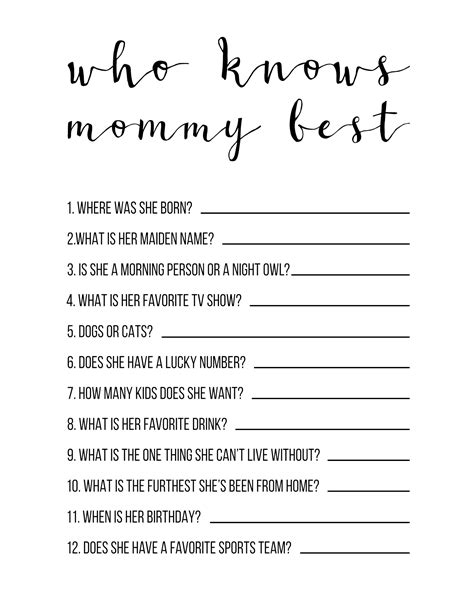 Who Knows Best Free Printable
