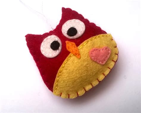 Handmade Felt Ornaments - colorfult handmade felt owl ornament by grabacoffee 3