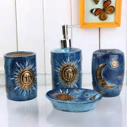 Sun And Moon Bathroom Accessories 4 Golden Sun And Moon Pattern Blue Ceramic Bath Accessory Sets Modern Bathroom