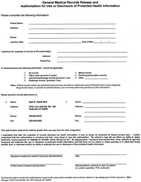 Form Medical Records Release Form Records Release Form Template