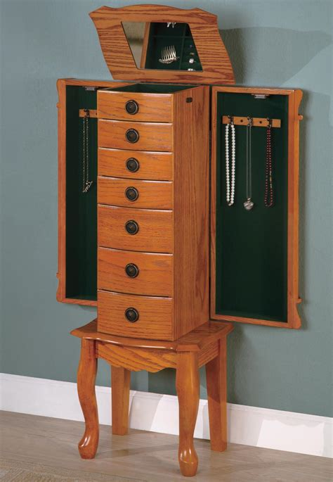 oak jewelry armoires coaster classic oak jewelry armoire 900135